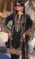 • Embroidered Lawn Shirt Center Panel • Embroidered Lawn Shirt Right Panel • Embroidered Lawn Shirt Left panal • Plain Lawn Shirt Back • Embroidered Lawn Sleeves • Printed Digital Chatta Patti For Trims • Embroidered Middle Panel Hem Motifs • Embroidered Shirt Hem Border • Embroidered Shirt Connector Trim • Embroidered Shirt Back Border • Embroidered Net Dupatta • Embroidered Trouser Motifs • Cambric Cotton Trouser