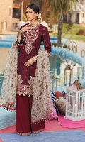 • Print/Embroidered Rocket Net Dupatta • Four-Sided Embroidered Dupatta Border • Jacquard Shirt Front & Sleeves • Plain Woven Shirt Back • Embroidered Neckline • Embroidered Front Shirt Corner Motifs • Embroidered Shirt Hem Motifs • Embroidered Shirt Hem Border • Embroidered Sleeves Motifs • Embroidered Sleeves Border • Embroidered Shirt Back Border • Printed & Embroidered Khadi Dupatta • Embroidered Trouser Border • Cambric Cotton Trouser