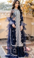 """A classy net jacket-cut shirt embroidered in silver """"tilla"""" and hand-embellished with sequins, pearls, glass-cut beads and crystals. Paired with a tulle """"dupatta"""" that is embroidered all over with tilla and embellished with sequins; finished with organza ruffles and crystal tassle details. """"Kataan-silk sharara"""" with hand-embellished crystal spray and embroidered ankle hem. Shimmer chiffon slip included."""