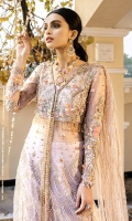 """A net-tulle front open gown with silk thread embroidery heavily hand-embellished with gold sequins, crystals, glass beads and 3D floral elements with a pretty lotus applique on the front, sleeves and back. Jacquard trouser. Net tulle long trail with embellished sequins. (sold separately). Net tulle dupatta with embellished sequins. (sold separately). """"Kataan"""" silk lining included."""