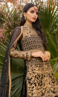 """A net-tulle straight shirt is heavily embroidered with gold """"tilla"""" and hand-embellished with gold sequins, black and gold crystals & tassles; the side slits are finished with screen-printed trims and cut-glass beaded lace. A layered """"sharara"""" with a net tulle top is finished with an embroidered and sequinned border, with the lower part made of screen-printed """"kataan"""" silk. A Net tulle cape is laden with gold """"tilla"""" embroidery and sequin embellishment, finished with feather lace. A """"Kataan silk"""" slip is included."""