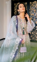 """A net-tulle jacket comes with """"tilla"""" and silk thread embroidery and sequins embellishment; heavy crystal and pearl hand-embellished neckline, sleeves and shirt front and silk thread, """"tilla"""" and sequins embroidered back. Organza """"dupatta"""" embroidered with silk thread and silver """"tilla"""" plus embellished with sequins with purple organza trims and crystal tassle detail on all four sides. """"Kataan"""" silk trouser with screen-printed """"patti and organza border with lace trim."""