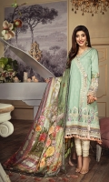 • Printed Lawn Shirt Front, Back & Sleeves 3.07 M • Embroidered Shirt Front Hem Border 1PC • Embroidered Neckline Patch 1M • Embroidered Sleeves Patch 1M • Printed Pure Silk Dupatta 2.5M • Dyed Cotton Cambric Trouser 2.5M • Embroidered Trouser Patch 2PC