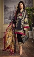 • Embroidered Lawn Shirt Front 1.21M • Printed Lawn Shirt Back 1.21M • Printed Lawn Sleeves 0.67M • Embroidered Sleeves Border 1M • Embroidered Front Hem Border 0.76M • Embroidered Neckline Trim 1M • Printed Pure Silk Dupatta 2.5M • Dyed Cambric Cotton Trouser 2.5M • Embroidered Trouser Patch 1M