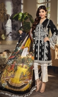 • Embroidered Lawn Shirt Front 1M • Embroidered Lawn Shirt Back 1M • Embroidered Lawn Sleeves 0.67M • Embroidered Front & Back Shirt Hem Border 1.52M • Embroidered Sleeves Border 1M • Embroidered Neckline Trim 1.5M • Printed Pure Silk Dupatta 2.5M • Dyed Cotton Cambric Trouser 2.5M • Embroidered Trouser Patch 2 PCS
