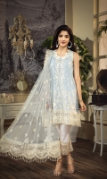 • Embroidered Lawn Shirt Front 1M • Plain Lawn Shirt Back 1M • Embroidered Lawn Sleeves 0.67M • Embroidered Shirt Front Hem Border 0.76M • Embroidered Shirt Back Hem Border 0.76M • Embroidered Sleeves Border 1M • Embroidered Net Dupatta 2.5M • Embroidered Dupatta Border 2M • Dyed Cotton Cambric Trouser 2.5M • Embroidered Trouser Patch 1.32M