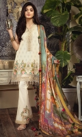 • Printed Lawn Shirt Front 3.07 M • Embroidered Shirt Front Hem Border 1PC • Embroidered Neckline Patch 1M • Embroidered Sleeves Patch 1M • Printed Pure Silk Dupatta 2.5M • Dyed Cotton Cambric Trouser 2.5M • Embroidered Trouser Patch 2PC