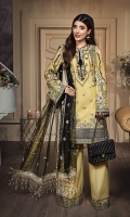 • Embroidered Lawn Shirt Front 1M • Embroidered Lawn Shirt Back 1M • Embroidered Lawn Sleeves 0.67M • Embroidered Sleeves Border 2PCS • Embroidered Front & Back Shirt Hem Border 1.52M • Embroidered Net Dupatta 2.5M • Embroidered Dupatta Border 4 Sided 8M • Dyed Cotton Cambric Trouser 2.5M • Embroidered Trouser Patch 2PCS