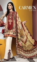 Digital Printed Lawn Shirt Embroidered Neckline Digital Printed Chiffon Dupatta Dyed Cotton Cambric Trouser Embroidered Trouser Motifs Embroidered Trouser Borders
