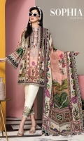 Digital Printed Lawn Shirt Embroidered Neckline Embroidered Sleeve Border Embroidered Shirt Hem Border Digital Printed Chiffon Dupatta Dyed Cotton Cambric Trouser Embroidered Trouser Borders