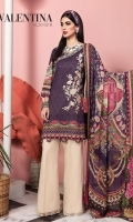 Embroidered Digital Printed Lawn Front Digital Printed Lawn Back & Sleeves Embroidered Neckline Trim Digital Printed Chiffon Dupatta Dyed Cotton Cambric Trouser Embroidered Trouser Borders