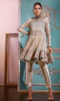 This super stunning bias cut net peplum is made on light net with powder blue damask lining as inner paired with pants. The neckline of the top is made od crystals,dabka and pearls which is further enhanced with silk threads knots an emerald stone. The hemline has opulent floral embroidery.
