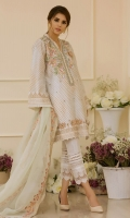 This super stunning straight silhouette shirt is made on pure cotton net which is enhanced with hand block printed details, the neckline is adorned with silk thread embroidery incorporated with 3D rosettes sequins, pearls, dabka and light-catching crystals. Be sure to set trends this Eid in our prism white from Escapade.