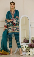 A straight silhouette chikan shirt made with opulent embroidered hemline, the neckine of the shirt is made of vivid block printed fabric which is enhanced with hand made tassel of light catching crystals. The fabric manipulated pleated straight pants with zari embroidery make this outfit even gorgeous.