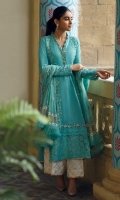 Turquoise chikan kurta with gold detailing, paired with white chikan culottes and a chiffon hand block printed dupatta.