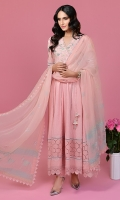 Puffy sleeved powder pink chikan angarkha with festive pastel detailing. Paired with chikan pants and a chiffon hand block printed dupatta.