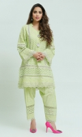 Chikan Straight Kurta with mirror work and silver Japanese bead button motifs highlighted with gota lines, paired with Straight lace embellished chikan shalwar. ( The patterns of lace may vary per design)