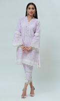 This traditional chikan Kurta with beautiful mirror work encrusted alongside the borders with laces. The hemline of the shirt is further enhanced with crochet laces paired with lace embellished chikan pants. ( The patterns of lace may vary per design)