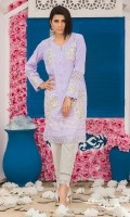 Chic, semi-formal straight kameez with bell sleeves. The kameez is embellished with lace and embroidery.