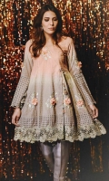Chic, semi-formal angrakha style kameez with a lot of flare. It is embellished with laces & embroidery and flowers.
