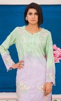 Chic, semi-formal straight ombre kameez embellished with laces and embroidery.