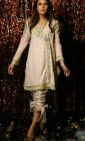 Chic, semi-formal angrakha style kameez. It is embellished with laces and embroidery and flowers.