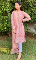 Dusty pink chikan kurta highlighted with trellises paired with gota infused chikan pants and a chiffon block printed ruffled dupatta.