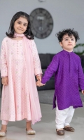 Orchid pink cotton net anarkali with embroidered bootis.
