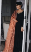 Black mirror worked Pakistani raw silk kalidar paired with Dhaka pajamas and a cantaloupe sequined organza dupatta.