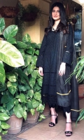 Alishay Adnan in our black self on self chikan kurta paired with chikan pants and a silk digital printed dupatta.