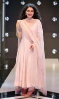 Orchid pink mirror worked anarkali paired with a net dupatta.