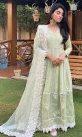 Sky green Pakistani raw silk angarkha paired with an organza appliquéd border dupatta.