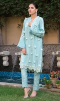 Ice blue raw silk kurta highlighted with pleats, long pearl lines, and fan tassels. Paired with worked self on self cigarette pants.