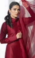A rich oxblood red structured straight shirt with a fabric manipulated organza dupatta.
