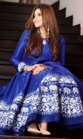 Electric blue raw silk hand blocked kalidaar paired with blue pants and an organza electric blue dupatta.