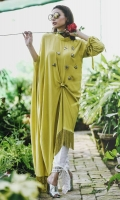 A statement knotted kaftan with an asymmetric hemline. It has fabric tassels dangling down below and embossed bugs on the body with knotted sleeve hems.