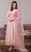 Malmaison Rose digital printed kalidaar paired with a sheer powder pink organza dupatta.
