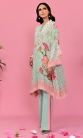 Seafoam crepe silk digital printed tunic with taffy pink oversized floral detailing. Paired with striped bootcut pants.