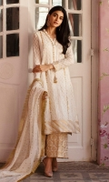 White chikankari organza kurta with gold dabka trellises, paired with a gold jamavar izaar and a cotton net dupatta with Kiran detailing.