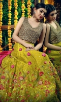 A beautiful gota work golden choli with fresh lime green color with fuchsia and orange work and booti chan lehenga.