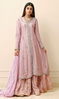 Lavender front open cotton net Anarkali with a silver dabka border on the neckline, slit and daman. Highlighted with booties and a spray of silver sequins. Paired with a jamawar Dhaka pajama and a net dupatta with a spray of silver sequins.