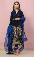 Midnight blue velvet front open jacket with a heavy worked border on the bottom part. Detailed with dabka, resham, gota, and zari. Beautifully highlighted birds and miners to complete the look. Paired with raw silk pants with silver maser organza detailing. Complete the look with flowery organza ruffled dupatta.