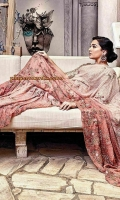 This chic two toned sari has hues of rose petal pink with pearls all over. It has floral embroidery with a pop of fuchsia to enhance the work.