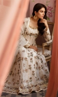White cotton net floor length Anarkali with jewel-tone block printing enhanced with gota detailing. Paired a block printed organza dupatta.
