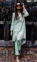 A chic, semi- formal, a-line kurta. It is embellished with trendy embroidery on the neckline and all around the hemline and booty chan all over.