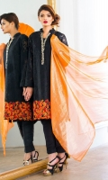 Chic, semi-formal straight kameez with a collar and worked neckline. Its damaan is embellished with embroidery.