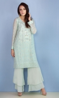 Chic, semi-formal straight kameez embellished with embroidery and stones. It is paired with double layered boot cut pants.