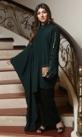 A statement kaftan with an asymmetric finish. The straight full sleeve has a slit running through the centre with pearls and the other sleeve is an exaggerated floor length bell sleeve.