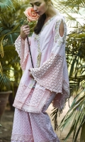 Chic, formal straight kameez with peek-a-boo, bell sleeves. The kameez is embellished with laces, embroidery and pearls.