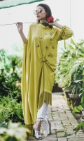 A statment knotted kaftan with an asymmetric hemline. It has fabric tassels dangling down below and embossed bugs on the body with knotted sleeve hems.